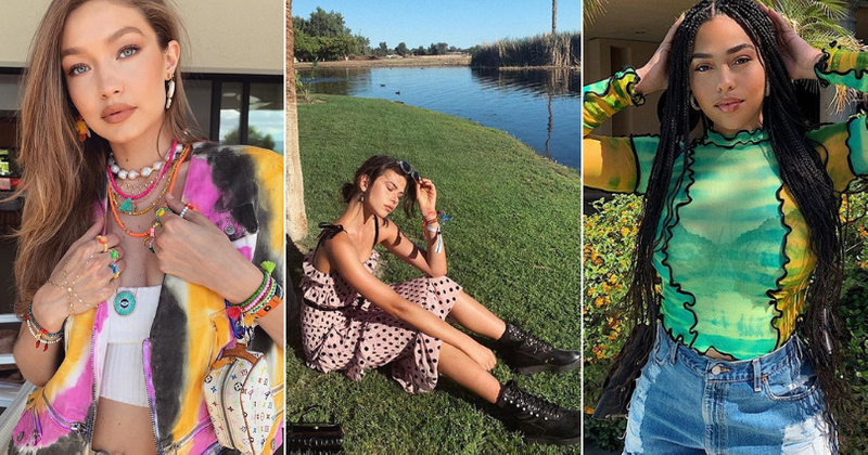 Coachella chucks flower crowns and bandanas, the latest headliners at music fest are chunky sneakers, polka dots and tie-dyes