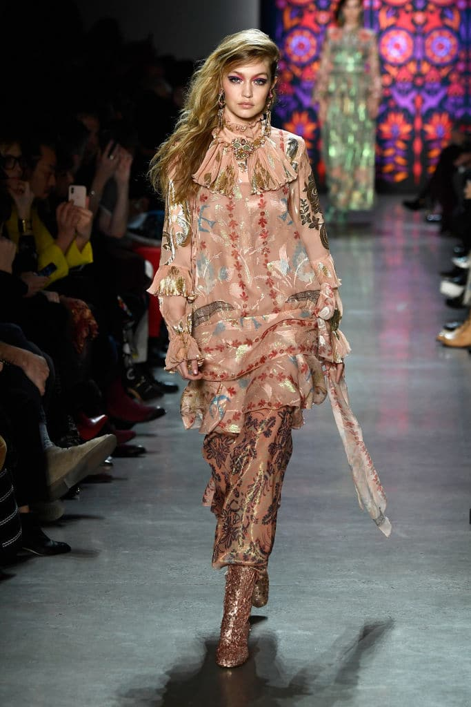 Gigi Hadid walks the runway for Anna Sui during New York Fashion Week (Getty Images)
