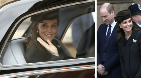Heavily pregnant Kate Middleton attends Easter church service with Prince William as due date approaches