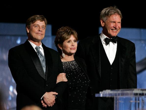 Mark Hamill, Carrie Fisher, and Harrison Ford (Getty Images)
