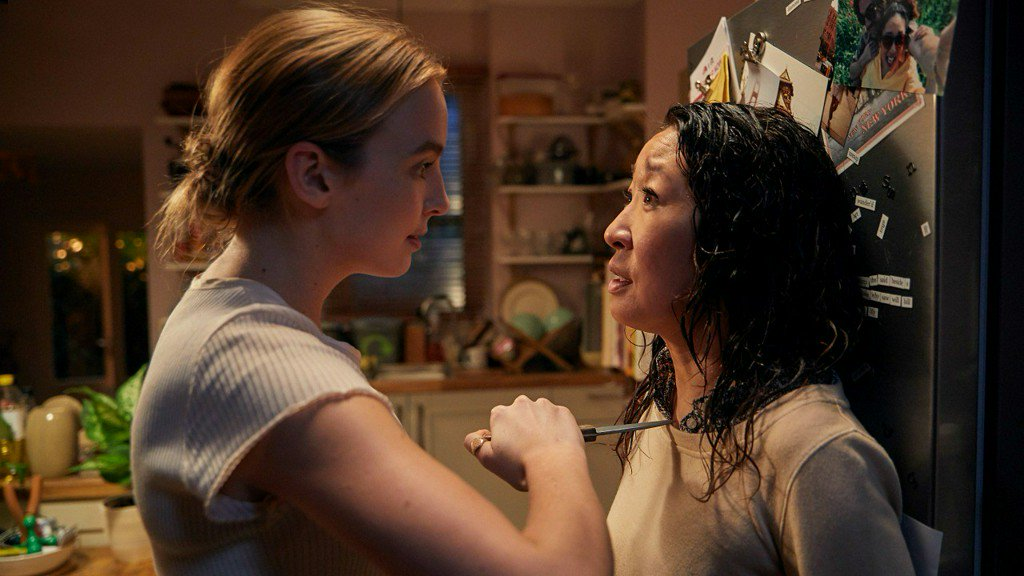Jodie Comer as Villanelle and Sandra Oh as Eve Polastri (Twitter)