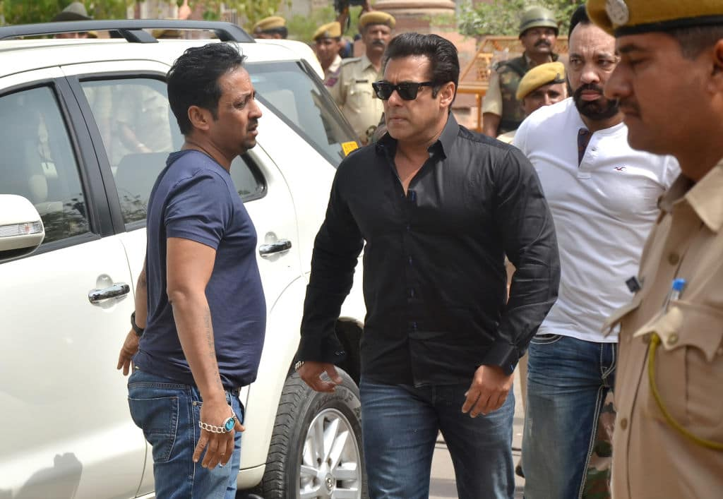 Indian Bollywood actor Salman Khan arrives at a court to hear the verdict in the long-running wildlife poaching case against him in Jodhpur on April 5, 2018. Salman Khan was found guilty April 5 of killing endangered Indian wildlife nearly two decades ago, a prosecutor said, a charge that could see the Bollywood superstar jailed for six years. (AFP/Getty Images)