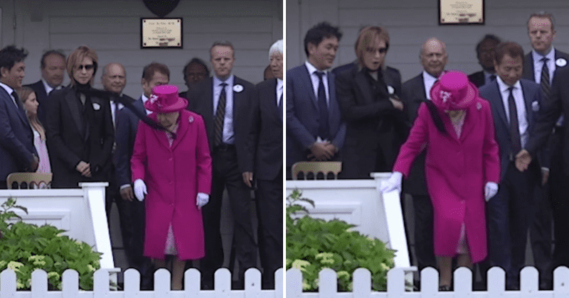 Woman's scarf blows into Queen's face at Royal Windsor Cup leaving polo attendees horrified