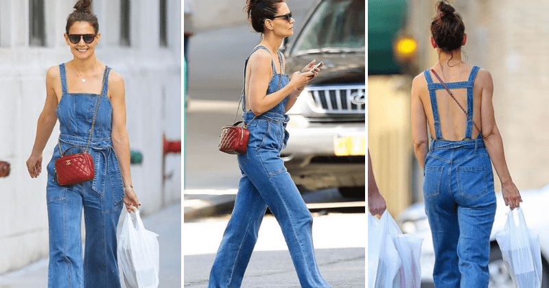 Katie Holmes goes shirtless under denim overalls, shows some skin while out shopping in New York City