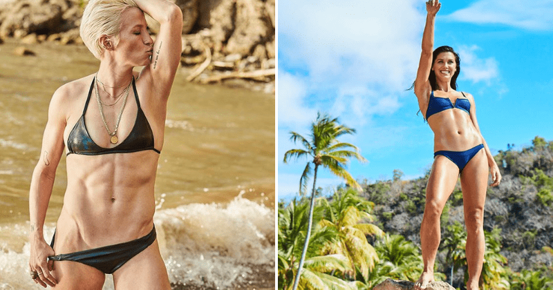 e74fc2b420b World Cup champs Megan Rapinoe and Alex Morgan sizzle in swimsuit  photoshoot showing off their rock