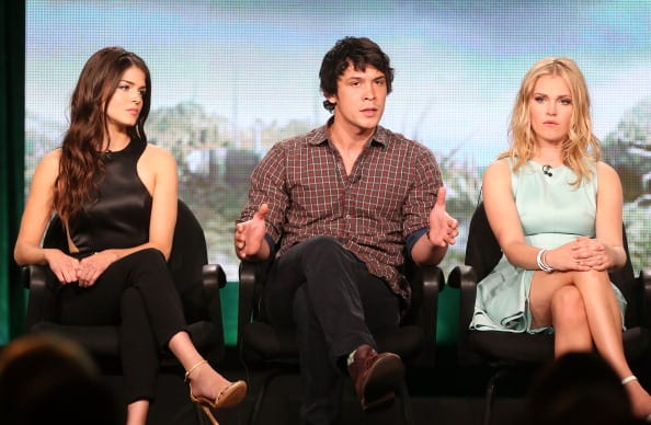 Marie Avgeropoulos, Bob Morley and Eliza Taylor of the television show 'The 100' speak onstage during the CW portion of the 2014 Winter TCA tour at the Langham Hotel on January 15, 2014 in Pasadena, California. (Getty Images)