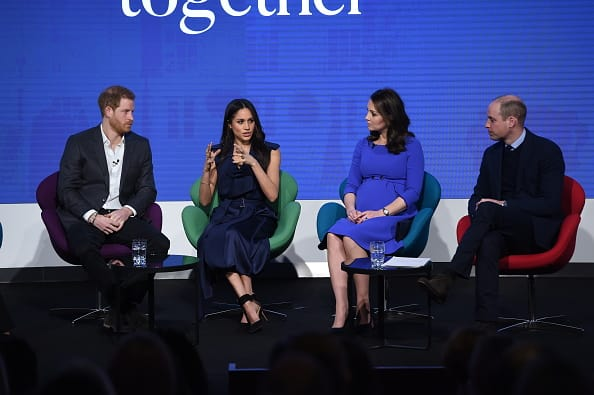 Prince Harry, Meghan Markle, Catherine, Duchess of Cambridge and Prince William, Duke of Cambridge attend the first annual Royal Foundation Forum held at Aviva on February 28, 2018 in London, England. (Photo by Eddie Mulholland - WPA Pool/Getty Images)