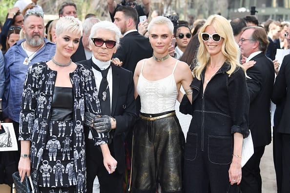 Katy Perry, Karl Lagerfeld, Cara Delevingne and Claudia Schiffer attend the Chanel Haute Couture Fall/Winter 2017-2018 show as part of Haute Couture Paris Fashion Week 2017 (Getty Images)