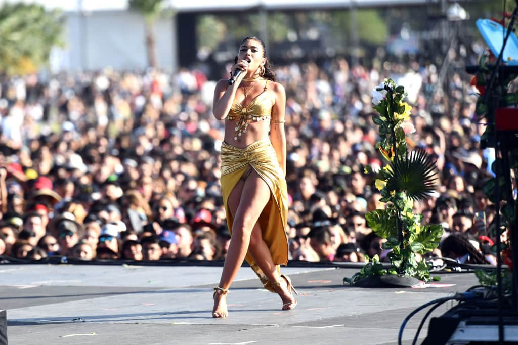 Singer Kali Uchis performs on the Outdoor stage during week 1, day 1 of the Coachella Valley Music And Arts Festival on April 13, 2018 in Indio, California. (Photo by Scott Dudelson/Getty Images for Coachella )