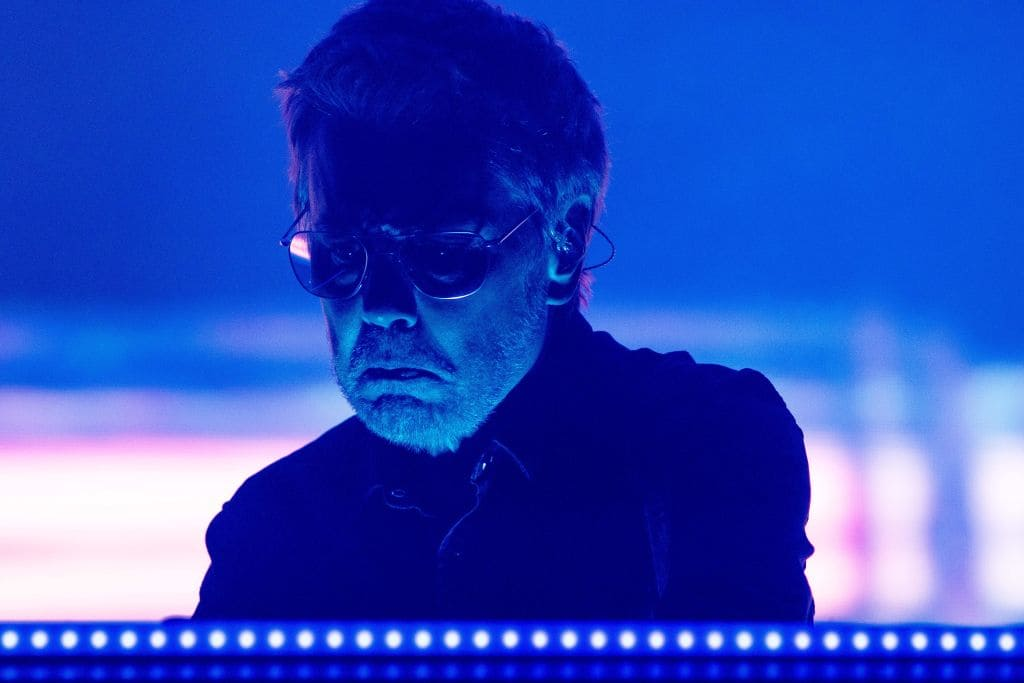Jean-Michel Jarre performs during the Coachella Music and Arts Festival in Indio, California, April 13, 2018. (KYLE GRILLOT/AFP/Getty Images)