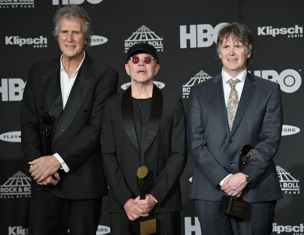 Inductees John Illsley, Alan Clark and Guy Fletcher of Dire Straits attend the 33rd Annual Rock & Roll Hall of Fame Induction Ceremony at Public Auditorium on April 14, 2018 in Cleveland, Ohio. (Photo by Mike Coppola/Getty Images For The Rock and Roll Hall of Fame)