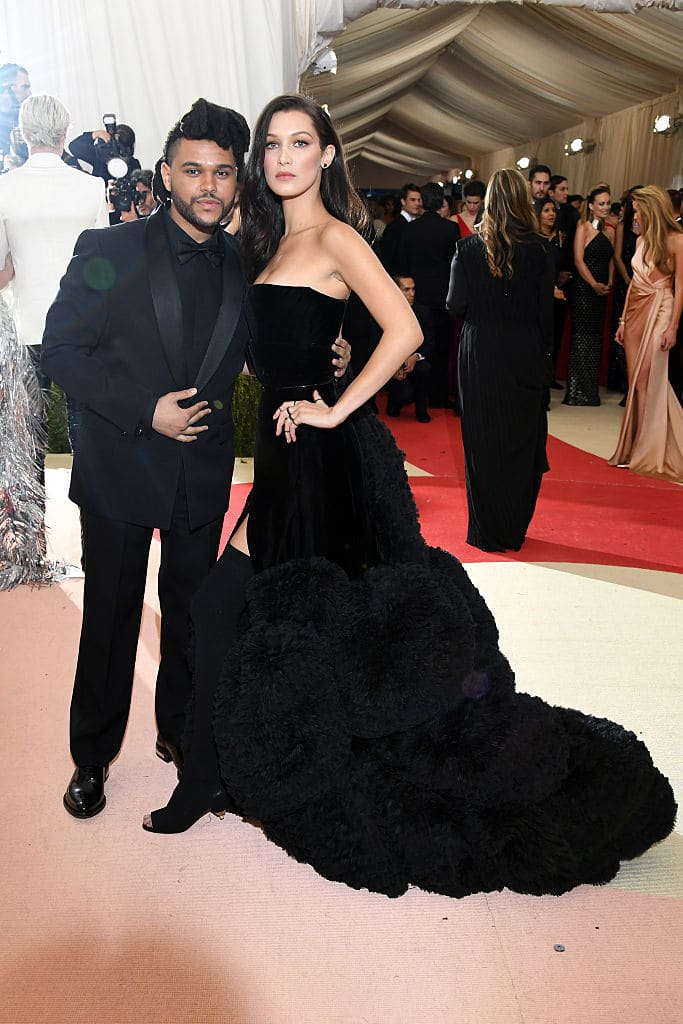 The Weeknd (L) and Bella Hadid attend the 'Manus x Machina: Fashion In An Age Of Technology' Costume Institute Gala at Metropolitan Museum of Art on May 2, 2016 in New York City. (Photo by Larry Busacca/Getty Images)