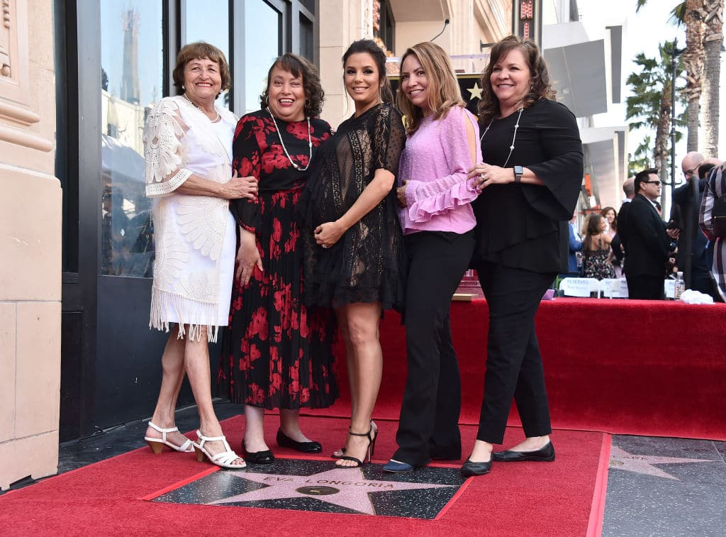 Ella Eva Mireles, Elizabeth Judina Longoria, Eva Longoria, Esmeralda Josephina Longoria and Emily Jeannette Longoria attend a ceremony honoring Eva Longoria with the 2,634th Star on the Hollywood Walk of Fame on April 16, 2018 in Hollywood, California. (Photo by Alberto E. Rodriguez/Getty Images)