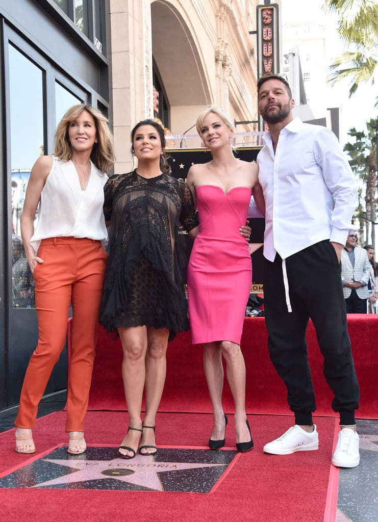 Felicity Huffman, Eva Longoria, Anna Faris and Ricky Martin attend a ceremony honoring Eva Longoria with the 2,634th Star on the Hollywood Walk of Fame on April 16, 2018 in Hollywood, California. (Photo by Alberto E. Rodriguez/Getty Images)