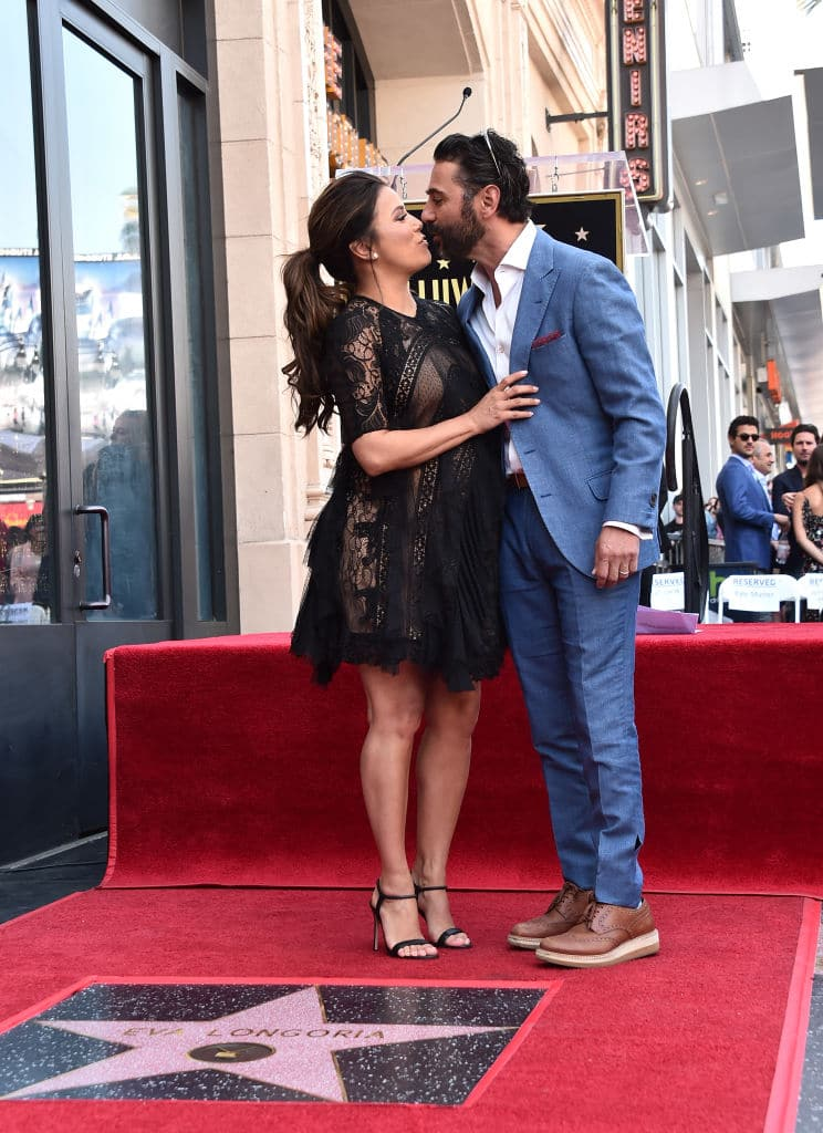 Eva Longoria and Jose Baston attend a ceremony honoring Eva Longoria with the 2,634th Star on the Hollywood Walk of Fame on April 16, 2018 in Hollywood, California. (Photo by Alberto E. Rodriguez/Getty Images)
