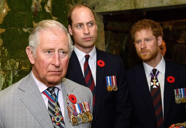 Prince Charles, Prince of Wales, Prince William, Duke of Cambridge and Prince Harry visit the tunnel and trenches at Vimy Memorial Park during the commemorations for the centenary of the Battle of Vimy Ridge on April 9, 2017 in Vimy, France. The Battle Of Vimy Ridge was fought during WW1 as part of the initial phase of the Battle of Arras. Although British-led, it was mostly fought by the Canadian Corps. A centenary commemorative service will be held at the Canadian National Vimy Memorial in France attended by the Prince of Wales, The Duke of Cambridge and Prince Harry and representatives of the Canadian Government. (Photo by Tim Rooke - Pool/Getty Images)