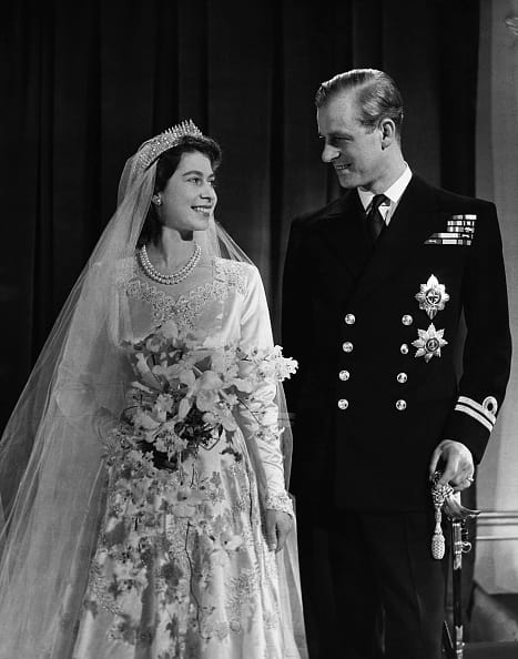 Princess Elizabeth and Philip Mounbatten's wedding was quite grand even though Britain was then rationing. (Getty Images)