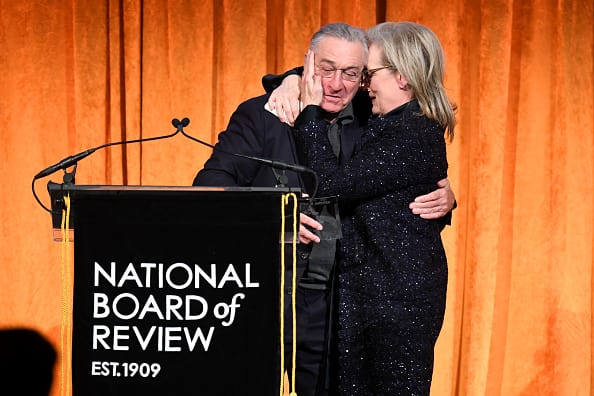 Robert De Niro (L) and Meryl Streep embrace onstage during the National Board of Review Annual Awards Gala at Cipriani 42nd Street on January 9, 2018 in New York City. (Photo by Dimitrios Kambouris/Getty Images for National Board of Review)