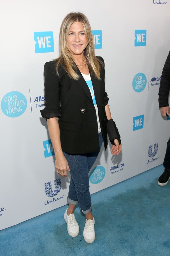 Jennifer Aniston attends WE Day California at The Forum on April 19, 2018 in Inglewood, California. (Photo by Jesse Grant/Getty Images for WE)