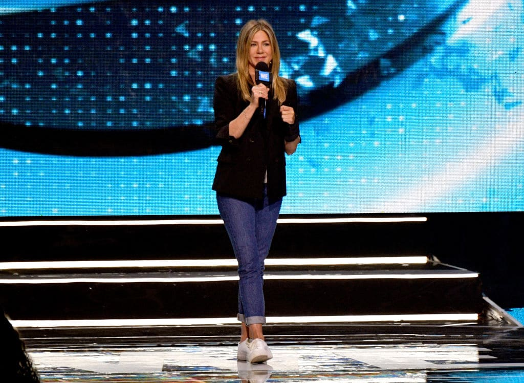 Jennifer Aniston speaks onstage at WE Day California at The Forum on April 19, 2018 in Inglewood, California. (Photo by Matt Winkelmeyer/Getty Images)