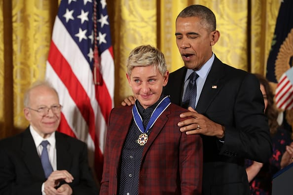 Ellen received the Presidential Medal of Freedom from Barack Obama (Getty)