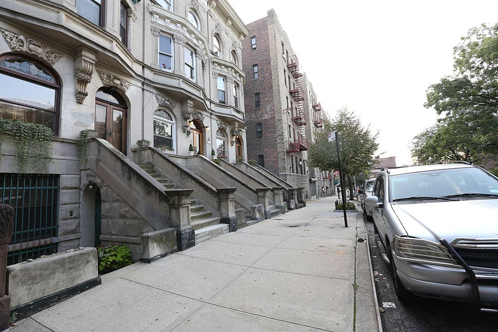 A view of the street block near E'Dena Hines' apartment building in the Washington Heights neighborhood on August 17, 2015 in New York City. E'Dena Hines, granddaughter of Morgan Freeman, was reportedly stabbed outside of the building on August 16, 2015 and later passed away from the injuries she sustained. (Photo by Rob Kim/Getty Images)