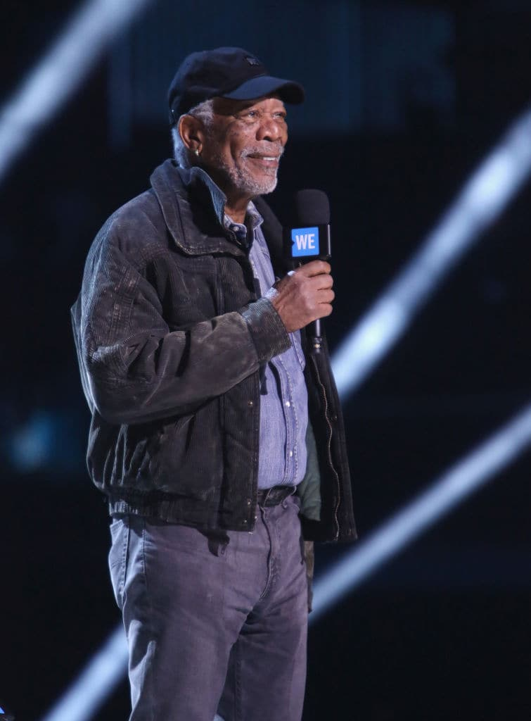 Morgan Freeman speaks onstage at WE Day California at The Forum on April 19, 2018 in Inglewood, California. (Photo by Jesse Grant/Getty Images for WE)