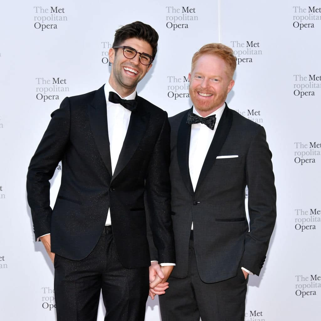 Justin Mikita (L) and Jesse Tyler Ferguson attend the 2017 Metropolitan Opera Opening Night at The Metropolitan Opera House on September 25, 2017 in New York City. (Photo by Dia Dipasupil/Getty Images)