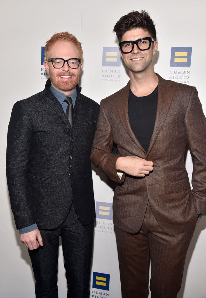 Jesse Tyler Ferguson (L) Justin Mikita attend The Human Rights Campaign 2018 Los Angeles Gala Dinner at JW Marriott Los Angeles at L.A. LIVE on March 10, 2018 in Los Angeles, California. (Photo by Alberto E. Rodriguez/Getty Images for Human Rights Campaign (HRC) )