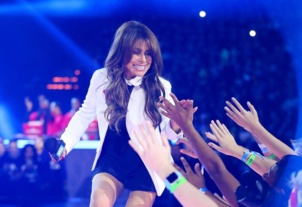 Paula Abdul walks on stage during WE Day Minnesota at Xcel Energy Center on September 20, 2016 in St Paul, Minnesota. (Photo by Adam Bettcher/Getty Images for WE )