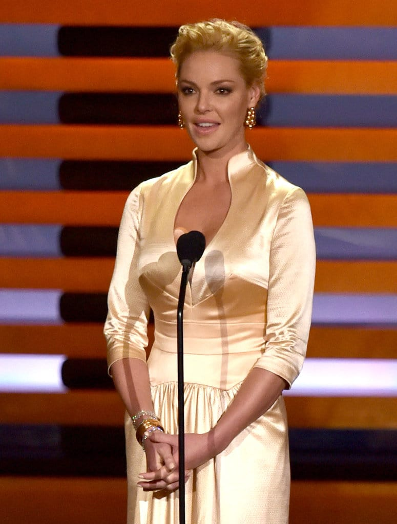 Actress Katherine Heigl speaks onstage at the 66th Annual Primetime Emmy Awards held at Nokia Theatre L.A. Live on August 25, 2014 in Los Angeles, California. (Photo by Kevin Winter/Getty Images)