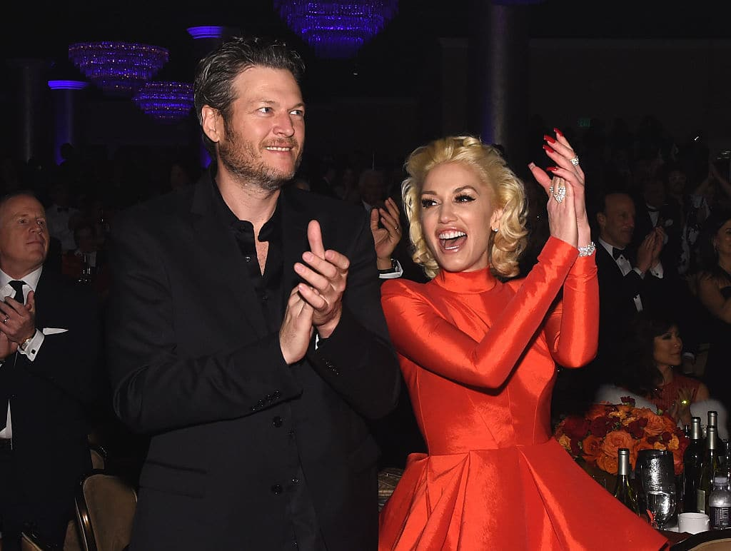 Recording artists Blake Shelton (L) and Gwen Stefani attend the 2016 Pre-GRAMMY Gala and Salute to Industry Icons honoring Irving Azoff at The Beverly Hilton Hotel on February 14, 2016 in Beverly Hills, California. (Photo by Larry Busacca/Getty Images for NARAS)