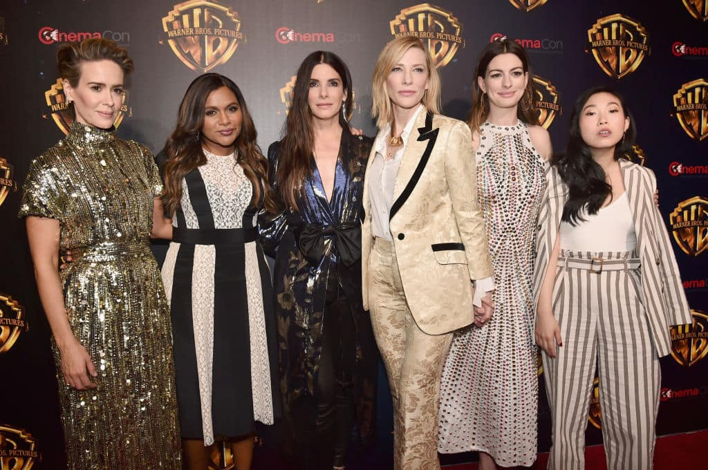 Actors Sarah Paulson, Mindy Kaling, Sandra Bullock, Cate Blanchett, Anne Hathaway and Awkwafina attend CinemaCon 2018 Warner Bros. Pictures Invites You to The Big Picture on April 24, 2018 in Las Vegas, Nevada. (Photo by Alberto E. Rodriguez/Getty Images for CinemaCon)