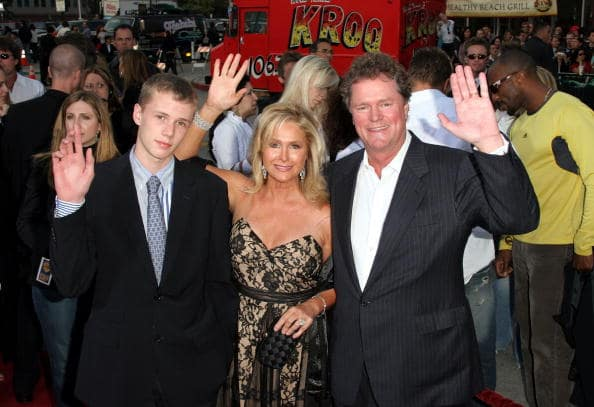(L-R) Conrad Hilton, Kathy Hilton and hotelier Rick Hilton arrive at Warner Bros. Premiere Of 'House Of Wax' at the Mann's Village Theater on April 26, 2005 in Westwood, California. (Photo by Matthew Simmons/Getty Images)