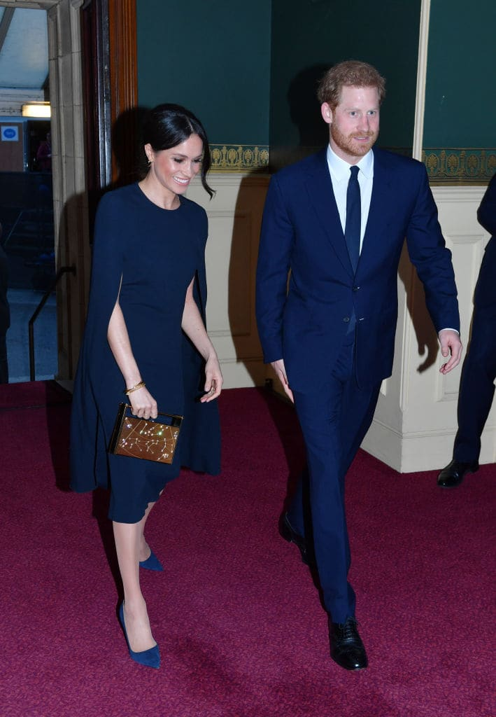 Prince Harry and Meghan Markle arrive at the Royal Albert Hall to attend a star-studded concert to celebrate the Queen's 92nd birthday on April 21, 2018 in London, England. (Photo by John Stillwell - WPA Pool/Getty Images)