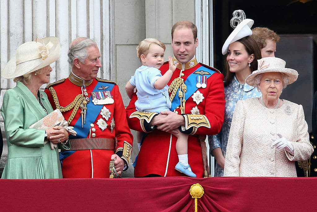 (L-R) Camilla, Duchess of Cornwall, Prince Charles, Prince of Wales, Prince George of Cambridge,Prince William, Duke of Cambridge, Catherine, Duchess of Cambridge, Queen Elizabeth II, Prince Harry look out on the balcony of Buckingham Palace during the Trooping the Colour on June 13, 2015 in London, England. . The ceremony is Queen Elizabeth II's annual birthday parade and dates back to the time of Charles II in the 17th Century when the Colours of a regiment were used as a rallying point in battle. (Photo by Chris Jackson/Getty Images)