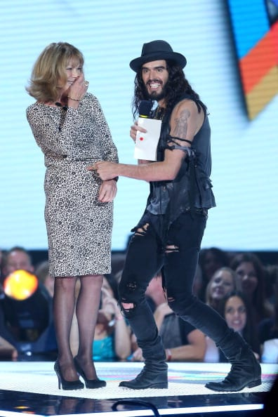 Russell Brand and his mother Barbara Brand present the ARIA for best Female artist at the 26th Annual ARIA Awards 2012 at the Sydney Entertainment Centre on November 29, 2012 in Sydney, Australia. (Photo by Don Arnold/Getty Images)