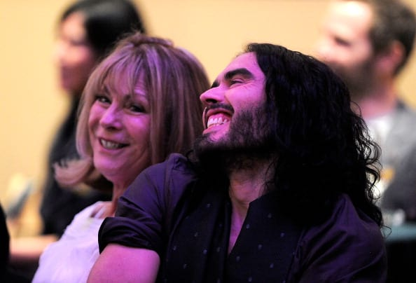 Actor Russell Brand, and mother Barbara Brand attend The Library Foundation's Young Literati 4th Annual 'Toast: An Evening To Benefit The Los Angeles Public Library' at the Los Angeles Public Library on October 28, 2011 in Los Angeles, California. (Photo by Frazer Harrison/Getty Images)