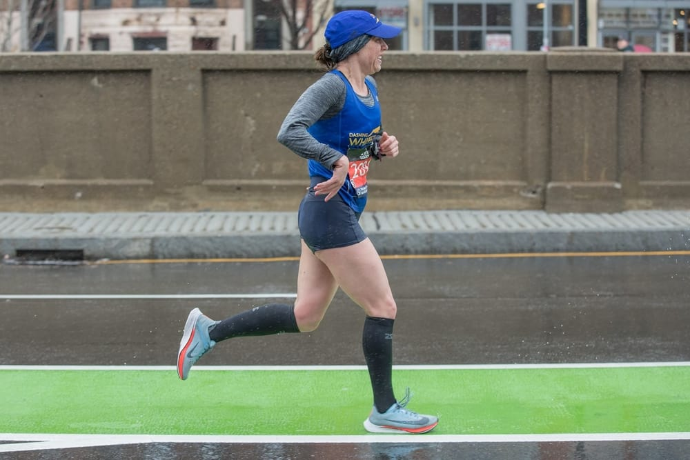 Jessica Chichester (above) running the Boston Marathon. (Source: Facebook)