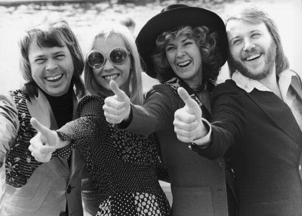 Swedish pop group ABBA give the thumbs up after winning the Eurovision Song Contest with their song 'Waterloo', Brighton, 7th April 1974. Left to right: Bjorn Ulvaeus, Agnetha Faltskog, Anni-Frid Lyngstad and Benny Andersson. (Getty Images)