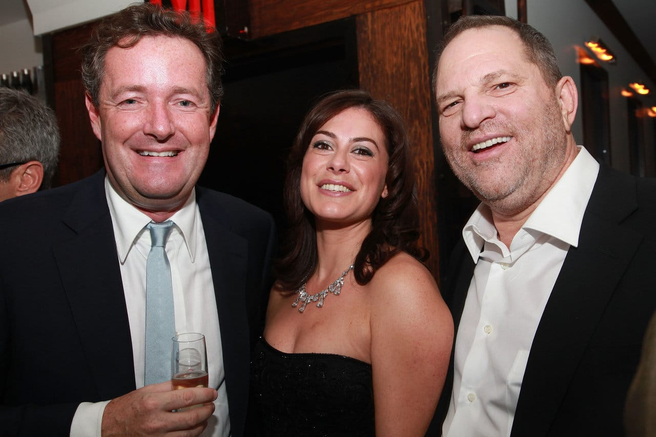 (L-R) TV personality Piers Morgan, Harvey Weinstein, Co-Chairman, The Weinstein Company and author Katie Nicholl on November 9, 2010 in New York City. (Photo by Astrid Stawiarz/Getty Images)