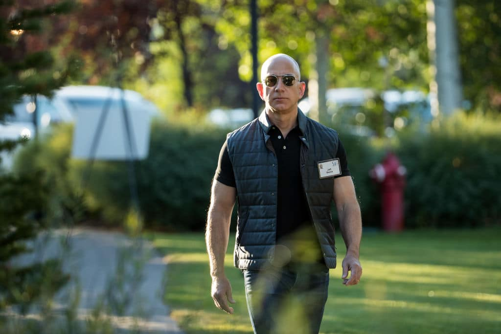 Jeff Bezos, chief executive officer of Amazon, arrives for the third day of the annual Allen & Company Sun Valley Conference, July 13, 2017 in Sun Valley, Idaho. (Photo by Drew Angerer/Getty Images)