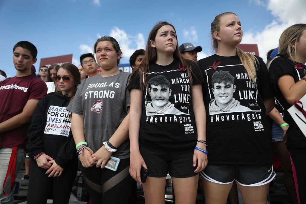 Marjory Stoneman Douglas High School students participate in the March For Our Lives event at Pine Trails Park before walking to the high school on March 24, 2018 in Parkland, Florida. (Getty Images)