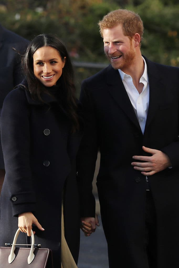 Prince Harry and his fiancee, US actress Meghan Markle, visit the Nottingham Academy as part of their first official public engagements togetheron December 1, 2017 in Nottingham. (Photo by Dan Kitwood/Getty Images)