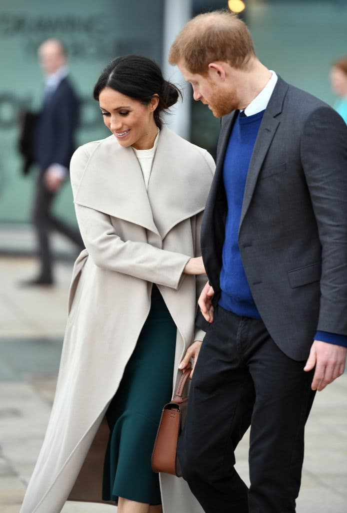Prince Harry and Meghan Markle during a visit to Titanic Belfast maritime museum on March 23, 2018 in Belfast, Nothern Ireland. (Photo by Andrew Parsons - Pool/Getty Images)