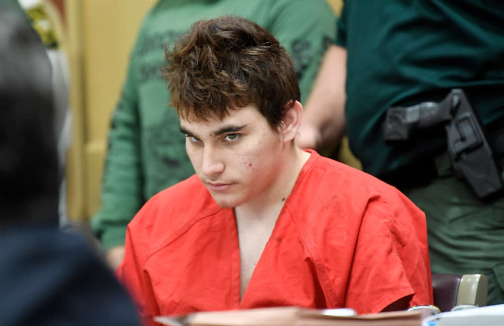 Florida school shooting suspect Nikolas Cruz quickly glances up at the prosecutors during a hearing on April 27, 2018, in Fort Lauderdale, Florida. (Getty Images)
