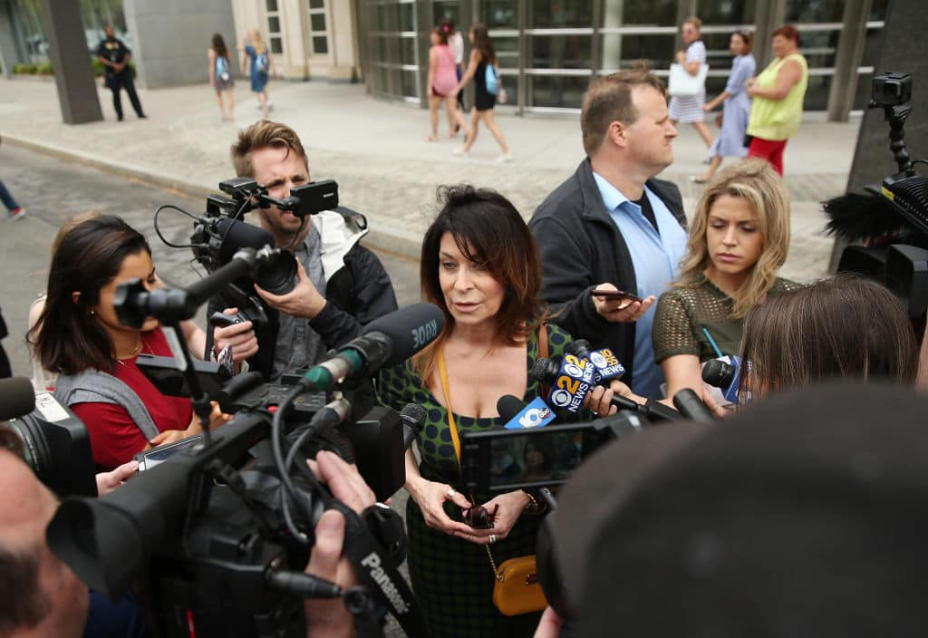Toni Natalie, a former associate of Keith Raniere, speaks to the media outside the United States Eastern District Court after a bail hearing for actress Allison Mack and NXIVM founder Keith Raniere in relation to the sex trafficking charges on May 4, 2018 in the Brooklyn borough of New York City. (Getty Images)