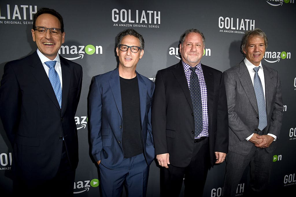 (L-R) Executive producers Jonathan Shapiro, Larry Trilling, Ross Fineman and David E. Kelley arrive at the premiere screening of Amazon's 'Goliath' at The London on September 29, 2016 in West Hollywood, California. (Photo by Kevin Winter/Getty Images)