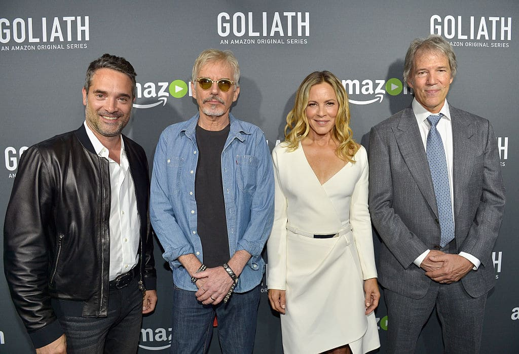 (L-R) Head of Drama Series for Amazon Studios, Morgan Wandell, actors Billy Bob Thornton, Maria Bello and Writer/Executive Producer David E. Kelley attend the Amazon red carpet premiere screening of original drama series 'Goliath' at The London West Hollywood on September 29, 2016 in Los Angeles, California. (Photo by Charley Gallay/Getty Images for Amazon Studios)