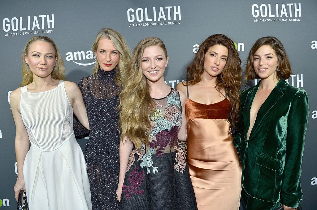 (L-R) Actresses Sarah Wynter, Ever Carradine, Diana Hopper, Tania Raymonde and Olivia Thirlby attend the Amazon red carpet premiere screening of original drama series 'Goliath' at The London West Hollywood on September 29, 2016 in Los Angeles, California. (Photo by Charley Gallay/Getty Images for Amazon Studios)